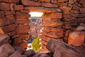 Cave tower ruin view through portal of ancient anasazi on cedar mesa Royalty Free Stock Photography