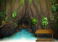 A cave, a water and a wooden shade Royalty Free Stock Photography