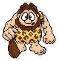 Caveman in Pixel Art 8 Bit Arcade Video Game Style Royalty Free Stock Photo