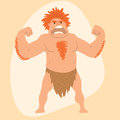 Caveman primitive stone age man cartoon neanderthal human character evolution vector illustration.