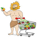 Caveman with shopping cart filled with fruit and vegetables Royalty Free Stock Photo