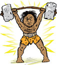 Caveman weightlifter prehistoric little man lifting a stone barbell over his head Stock Image