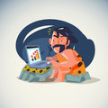 Caveman working with laptop - vector