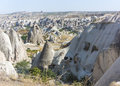 Caves in cappadocia ancient times people carved out homes the fairy chimney rock formations turkey the houses are a popular Royalty Free Stock Images