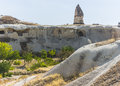 Caves in cappadocia ancient times people carved out homes the fairy chimney rock formations turkey the houses are a popular Royalty Free Stock Photography