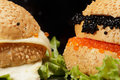 Caviar and cheese sandwiches Royalty Free Stock Image