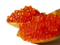 Caviar on spoon Stock Images
