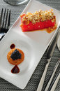 Caviar toast watermelon pan fried with nuts Stock Photos