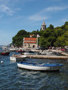 Cavtat croatia august harbor and monastery with of our lady of the snow in the background Royalty Free Stock Photos