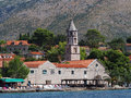 Cavtat croatia august monastery of our lady of the snow with sunbeds in foreground Royalty Free Stock Photography
