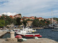 Cavtat croatia august old harbor boats and sailboats in the Stock Images