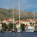 Cavtat croatia august old harbor boats and sailboats in the Royalty Free Stock Images