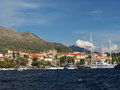 Cavtat croatia august old harbor boats and sailboats in the Stock Photos