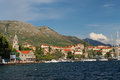 Cavtat croatia august old harbor cityscape with the monastery of our lady of the snow on the left Stock Photo
