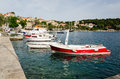 Cavtat harbour view of small boats and yachts in croatia Royalty Free Stock Photography