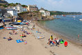Cawsand beach cornwall england united kingdom on the rame peninsula overlooking plymouth sound holiday makers enjoying summer Stock Photography
