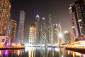 The cayan tower in night illumination at dubai marina uae september on september uae it is world s tallest high Royalty Free Stock Image