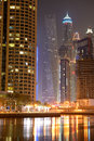 The cayan tower in night illumination dubai uae september at dubai marina on september dubai uae it is world s tallest high Royalty Free Stock Image
