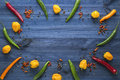 Cayenne chilli peppers, yellow habanero peppers, pepperoncini peppers and color pepper Royalty Free Stock Photo