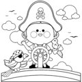 Pirate girl captain sailing on ship with steering wheel. Black and white coloring book page Royalty Free Stock Photo
