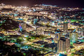 Cbd townsville as seen from atop castle hill by night Royalty Free Stock Photos