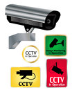 Cctv camera signs set of active sign illustration Stock Photography