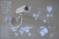 CCTV Camera or surveillance technology on screen display Royalty Free Stock Photo