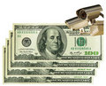 Cctv camera & US dollars. Business & control Stock Photos