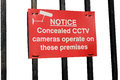Cctv cameras in operation sign on white background Royalty Free Stock Images