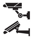Cctv cameras silhouettes of on white background Stock Image