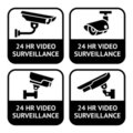 CCTV labels, set symbol security camera pictogram Stock Photography