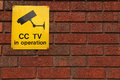 Cctv in operation board informing that security cameras are Royalty Free Stock Photos