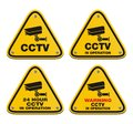 Cctv in operation yellow sign suitable for warning Stock Photo