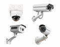 CCTV security cameras isolated white background. with clipping p Royalty Free Stock Photo