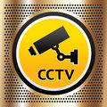 CCTV symbol on a golden background Stock Image