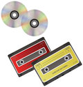 CD discs and cassette. Royalty Free Stock Images