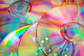 CD disks with rainbow reflection. Royalty Free Stock Images