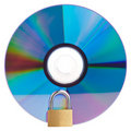 CD or DVD with a closed padlock on top Stock Photography