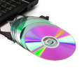 Cd dvd optical drive open cd rom laptop computer with Stock Photo