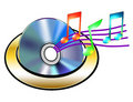 CD with musical notes Royalty Free Stock Images