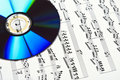 Cd and musical score Royalty Free Stock Photo