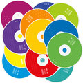 CD Pile Colored Labels Royalty Free Stock Photo