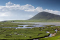 Ceapabhal hill and saltings tidal inlets or at an taobh tuath or northton on the isle of harris scotland Royalty Free Stock Photos