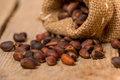 Cedar nuts in a burlap sack on wooden table Stock Image