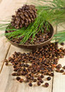 Cedar nuts with pine cones and branch on a wooden background Royalty Free Stock Photos