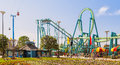 Cedar point amusement park ohio the colorful rides of an historic and famous known for roller coasters on lake erie sandusky Stock Image
