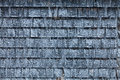 Cedar shingles during a cold winter day with snow Royalty Free Stock Images