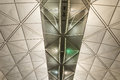 Ceiling building modern architecture of in hong kong airport Stock Photos