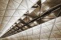 Ceiling building modern architecture of in hong kong airport Stock Photo