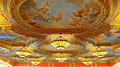 Ceiling chandeliers and paintings of venetian hotel macau beautiful colorful on the the Stock Images